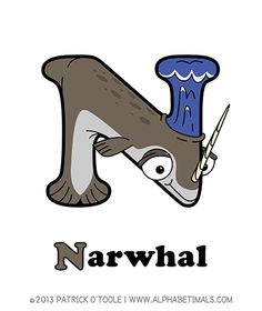 Narwhal - Alphabetimals make learning the ABC's easier and more fun! http://www.alphabetimals.com