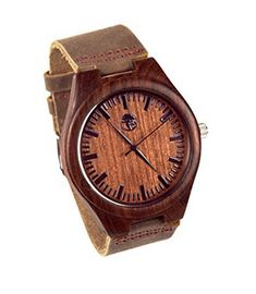 Men's Natural Bamboo and Sandalwood Wristwatch with Quartz Movement, Genuine Leather Strap Mens Watches Online, Watches For Men, Feeling Great, Wood Watch, Quartz, Bamboo, Natural, Leather, Gifts