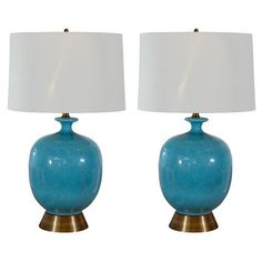 Pair of Blue Pottery Lamps-vintage  blue speckled pottery as lamps  base made of glazed ceramic w/  original brass base