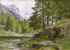 Stream-in the Karwendel Mountains || Edward Harrison Compton, Oil