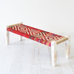 colourful woven bench Outside Furniture, Furniture Decor, Furniture Design, Outdoor Furniture, Outdoor Decor, Decorative Rugs, Bench Designs, Fabric Rug, World Of Interiors