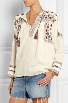 Étoile Isabel Marant|Vicky embroidered cotton-muslin top|NET-A-PORTER.COM