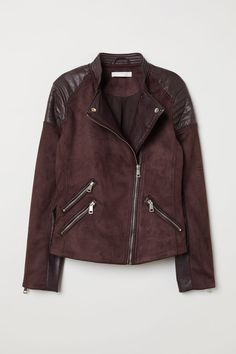 Biker jacket in faux suede with faux leather details. Small stand-up collar quilted details on shoulders diagonal zip at front and a zip at cuffs. Three front pockets with zip. Jackets For Women, T Shirts For Women, Clothes For Women, Women's Clothes, Womens Ripped Jeans, Womens Clothing Stores, Outerwear Women, Fashion Brands, Winter Fashion