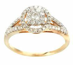 AffinityDiamond 1/2 ct tw Halo Design Ring, 14K Gold