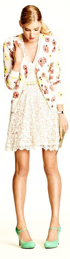 French Connection Loving Crochet dress, Caslon V-Neck Petite floral cardigan, Kate Spade New York 'Laila' mint pumps