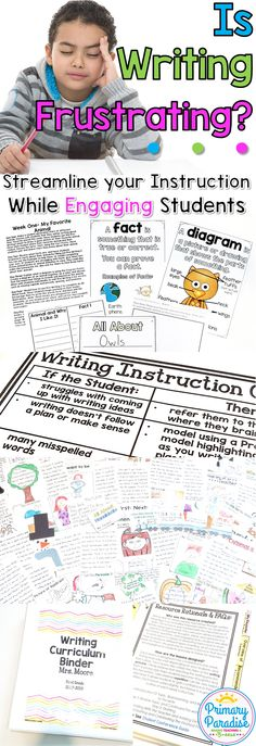 Writing instruction in lower elementary can be a frustrating experience for teachers and students. Learn how to take the guesswork out of writing instruction in your Kindergarten, First, and Second Grade classroom. Writing lessons for elementary differentiated year long curriculum engaging ideas