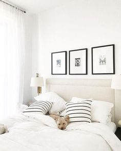 Neutral bedroom decor: accent wall with neutral padded headboard, three framed art photo prints.) Are you looking for unique and beautiful art photos or poster prints (not Bed Back Design, Bedroom Makeover Before And After, Neutral Bedroom Decor, Quirky Bedroom, Bedroom Modern, Home Bedroom, Master Bedrooms, Bedroom Ideas, Bedroom Inspiration
