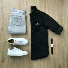 Monochrome vibes ✌🏻 Featured is the Black Western Denim shirt. Please rate this outfit below ⤵️ Jeans: Shoes: The Royale Shades: Watch: . Business Casual Attire For Men, Men's Business Outfits, Business Formal, Professional Attire, Business Fashion, Trend Fashion, Mens Fashion Blog, Mens Fashion Outfits, Fashion Ideas