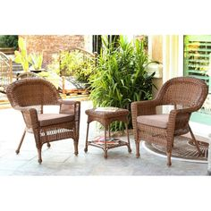 Jeco 3-Piece Honey Wicker Patio Chairs and End Table Furniture Set - Brown Cushions, Patio Furniture