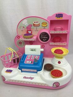 Peppa Pig Bakery/Store Playset Hard to find in the US! Lots of accessories FR SH #Smoby