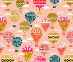Hot Air Balloons - Vintage and Retro-Inspired Flying Machines by Andrea Lauren fabric by andrea_lauren on Spoonflower - custom fabric