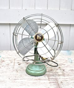 Vintage Desk Fan Cast Iron Turquoise by ObjectsdeArt on Etsy