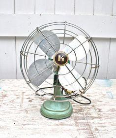 Vintage Desk Fan Cast Iron Turquoise by ObjectsdeArt on Etsy