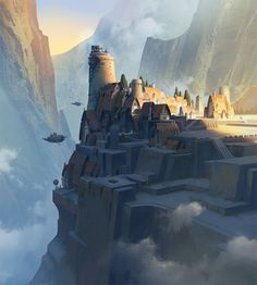 Browse a selection of concept art and illustrations by Avant Choi, a south Korean artist working for the game industry. Fantasy City, Fantasy Castle, Fantasy Places, High Fantasy, Fantasy World, Fantasy Art Landscapes, Fantasy Landscape, Landscape Art, Fantasy Concept Art