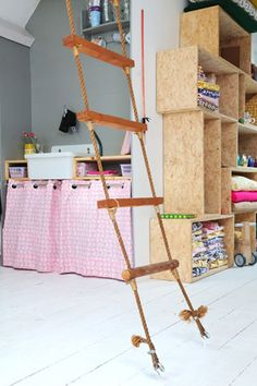 Indoor Rope Ladder- this would be AWESOME for  a play room or a pirate themed bedroom...or any kid bedroom lol