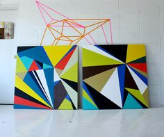 large geometric paintings. Maybe draw out all acute angles to complete your composition. Then paint using a color scheme!