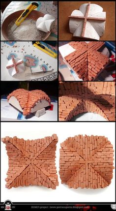 Domus project Miniature cross vault with clay bricks pietrasupietra. The Domus project is the construction in scale. Miniature Crafts, Miniature Houses, Miniature Dolls, Diy Fimo, Diy And Crafts, Arts And Crafts, Theme Noel, Miniture Things, Fairy Houses