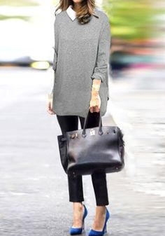 Refined and preppy look in this chiffon-collared grey jersey top, heels and black oversized bag. Very ideal office attire.