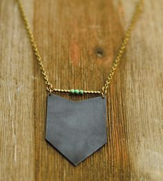 Brass Chevron Necklace by Crow Jane Jewelry on Scoutmob Shoppe. Handcrafted from raw brass, this svelte brass chevron necklace is antiquated and distressed for character.