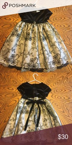 Little Girls 2T party dress Beautiful Black party dress with flower appliqué Great condition...like new only worn one time! Goodlad Dresses Formal