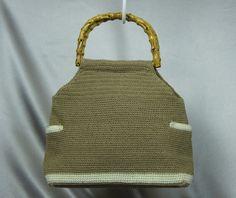 Tan knit handbag 80's purse bamboo handle bag white by PurseFancy