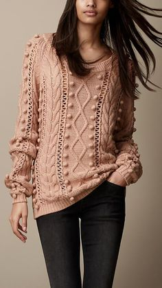 Burberry Brit Cable Knit Wool Blend Sweater - this looks so cozy and comfy Pull Torsadé, Modest Fashion, Fashion Outfits, Feminine Fashion, Fashion Ideas, Knit Fashion, Cardigan Fashion, Men's Fashion, Cable Knit Sweaters