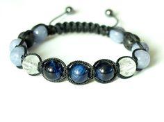 Blue Tiger Eye Mens Bracelet Quartz Anhydrite Lava by CITBhandmade