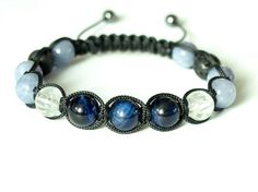 Blue Tiger Eye Mens Bracelet Quartz Anhydrite Lava by CITBhandmade