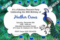 Peacock Birthday Invitations  -  Get these invitations RIGHT NOW. Design yourself online, download and print IMMEDIATELY! Or choose my printing services. No software download is required. Free to try!