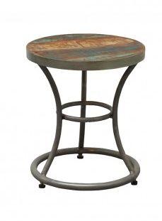 Andy bijzettafeltje/krukje. De onderkant is van antraciet metaal en de bovenkant vintage gekleurd mango hout.  Afmeting: 45x40x40cm (hxbxd)