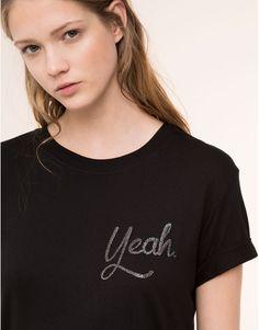 Pull&Bear - dames - nieuwigheden - t-shirt met korte mouw en tekst - zwart - 05238393-V2016