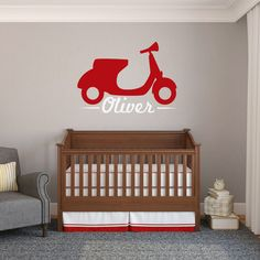Custom Name Motor Scooter - Wall Decal - Sweetums Wall Decals
