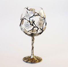 Wine Glass  Hand Painted Tea Light Candle - hand geschilderd wijn glas voor waxine kaarsje (kaarsenhouder)