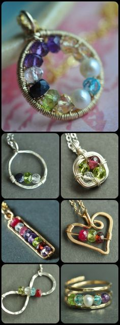 custom birthstone jewelry handcrafted with genuine gemstones - by muyinjewelry.com