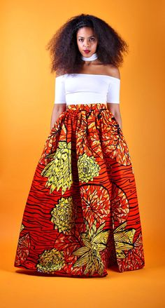 Sheri - Maxi Skirt.   Ankara | Dutch wax | Kente | Kitenge | Dashiki | African prints | Nigerian style | Ghanaian fashion | Senegal fashion | Kenya fashion | Nigerian fashion | Ankara crop top (affiliate)