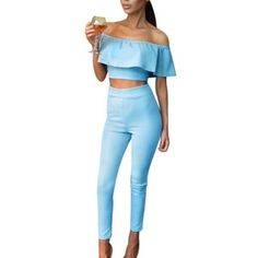 879e30fac273 Sexy Two Pieces Set Ruffles Tops + Pants Women Summer Off Theuotelab Две  Части
