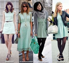 pastel mint in dresses, shows a good and subtle range of mints now trending (my favorite of the looks is the third, a winter outfit)