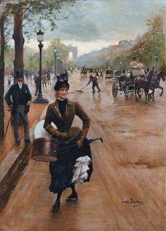 """""""La modista en los Campos Elíseos"""" (1902). Obra de Jean Béraud (1849-1935). Colección privada.  """"The milliner on the Champs Elysées"""" (1902). Work by Jean Béraud (1849-1935). Private collection"""