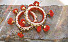 Silk Thread Bangles, Thread Jewellery, Tassel Jewelry, Beaded Jewelry, Diy Jewellery, Jewelery, Gota Patti Jewellery, Handmade Rakhi Designs, Indian Wedding Jewelry