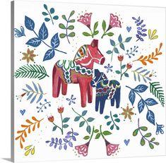 'Dala Horse' by illustrator Elizabeth Rider Zentangle, Stretched Canvas Prints, Framed Prints, Horse Wall Art, Watercolor Horse, Scandinavian Folk Art, Plate Design, Hand Art, Hero Arts