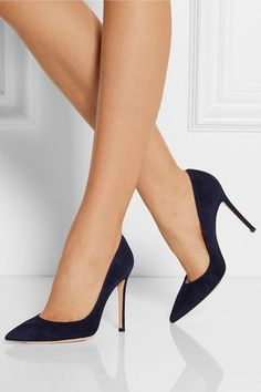 Gianvito Rossi's midnight-blue point-toe pumps are a contemporary yet versatile alternative to classic black styles. Hand-finished in the label's Italian factory, this smooth suede pair has a cushioned leather footbed for comfort. Suede Pumps, High Heel Pumps, Pump Shoes, Stiletto Heels, Platform Pumps, Women's Heels, Flat Shoes, Women's Pumps, Stilettos