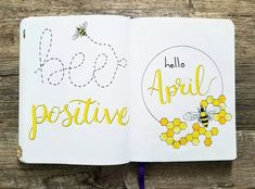 Bullet journal monthly cover page, April cover page, bee drawing, honeycomb drawing. Bullet Journal Spreads, April Bullet Journal, Bullet Journal Cover Page, Bullet Journal Notebook, Bullet Journal Inspo, Bullet Journal Layout, Bullet Journal Months, Bullet Journals, Bullet Journal Monthly Spread