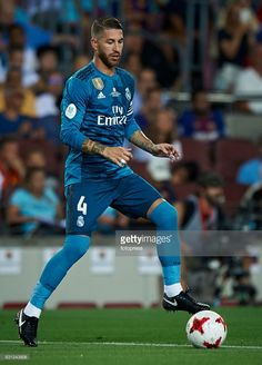 Sergio Ramos of Real Madrid in action during the Supercopa de Espana Supercopa Final 1st Leg match between FC Barcelona and Real Madrid at Camp Nou on August 13, 2017 in Barcelona, Spain.