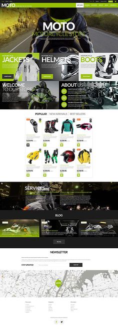 The theme was specifically designed for e-Commerce stores selling bikes and accessories. Motorcycle PrestaShop theme is created in dark and light-green colors. Best Web Design, Page Design, Sports Website, Web Design Inspiration, Design Ideas, Inspiration Boards, Web Layout, Website Template, Wordpress Theme