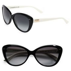 Kate Spade New York Angelique Two-Tone Plastic Cat's-Eye Sunglasses ($138) ❤ liked on Polyvore