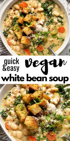 Vegetarian Recipes Discover Creamy Vegan White Bean & Kale Soup This creamy vegan white bean and kale soup comes together in less than 30 minutes. Its the perfect quick and easy dinner when youre looking for something hearty healthy and satisfying! Tasty Vegetarian Recipes, Vegan Soups, Vegan Dinner Recipes, Vegan Dishes, Whole Food Recipes, Cooking Recipes, Meatless Dinner Ideas, Healthy Vegan Meals, East Healthy Dinners