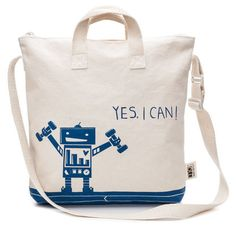 Mighty Cotton Kids Tote Bag - love robot.  Made in the USA