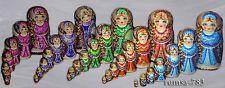 Matryoshka Russian Nesting Dolls handpainted set of 7 pcs Katyusha Pyrography