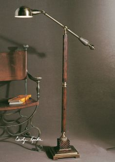 """Uttermost 28514-1 Dalton floor articulating reading lamp.  Burnished wood and aged bronze.  57""""H.   247.00$"""