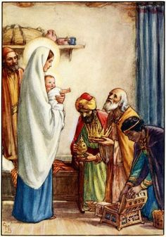 Mary & Joseph w/Jesus and Three Kings, Cicely Mary Barker Cicely Mary Barker, Idees Cate, Three Wise Men, Madonna And Child, Flower Fairies, Fantasy Illustration, Blessed Mother, Mother Mary, Sacred Art